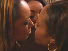 Office black lesbians caress each other